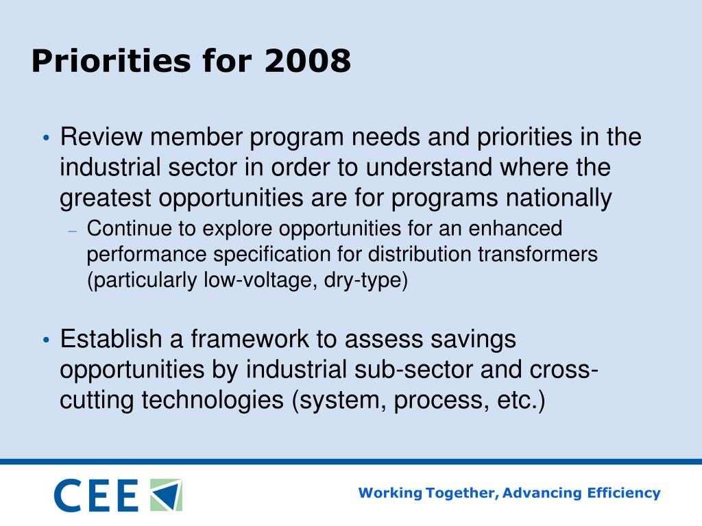 Priorities for 2008