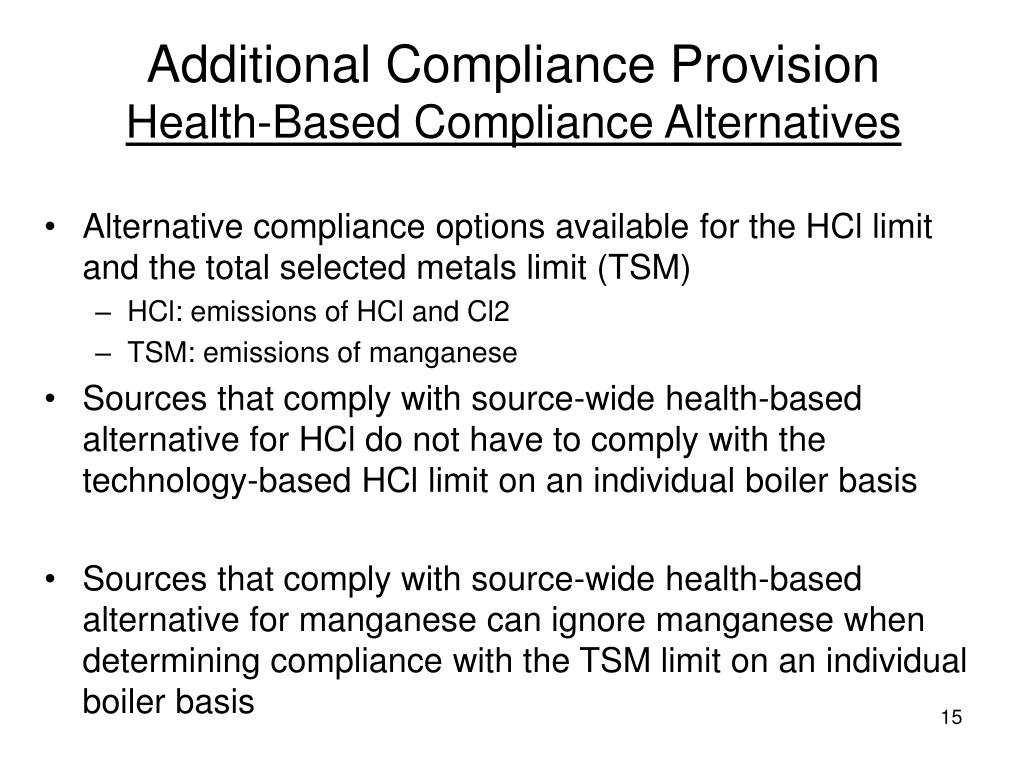 Additional Compliance Provision