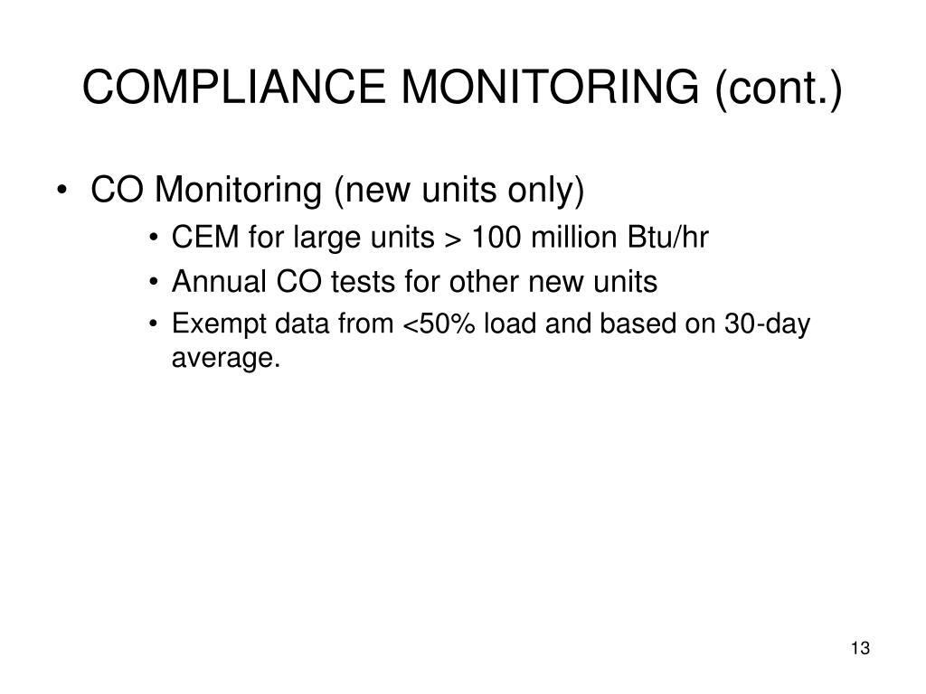 COMPLIANCE MONITORING (cont.)