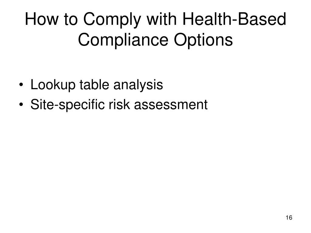 How to Comply with Health-Based Compliance Options