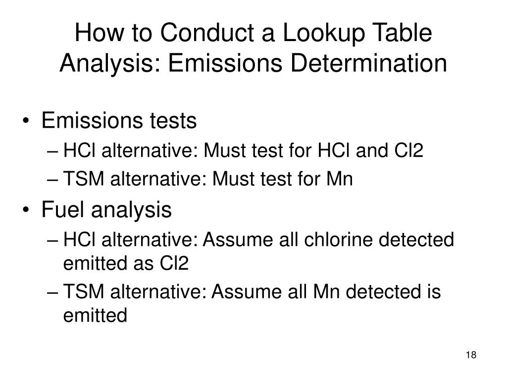 How to Conduct a Lookup Table Analysis: Emissions Determination