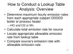 how to conduct a lookup table analysis overview
