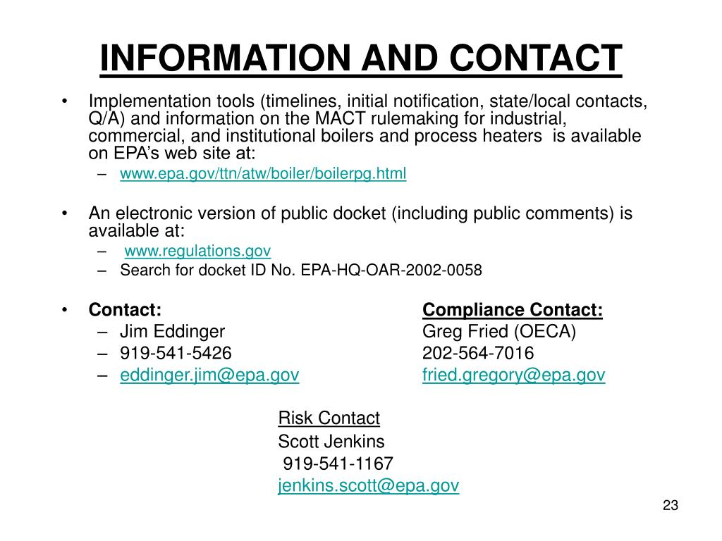 INFORMATION AND CONTACT
