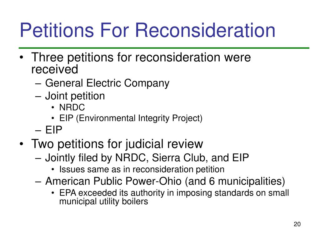 Petitions For Reconsideration