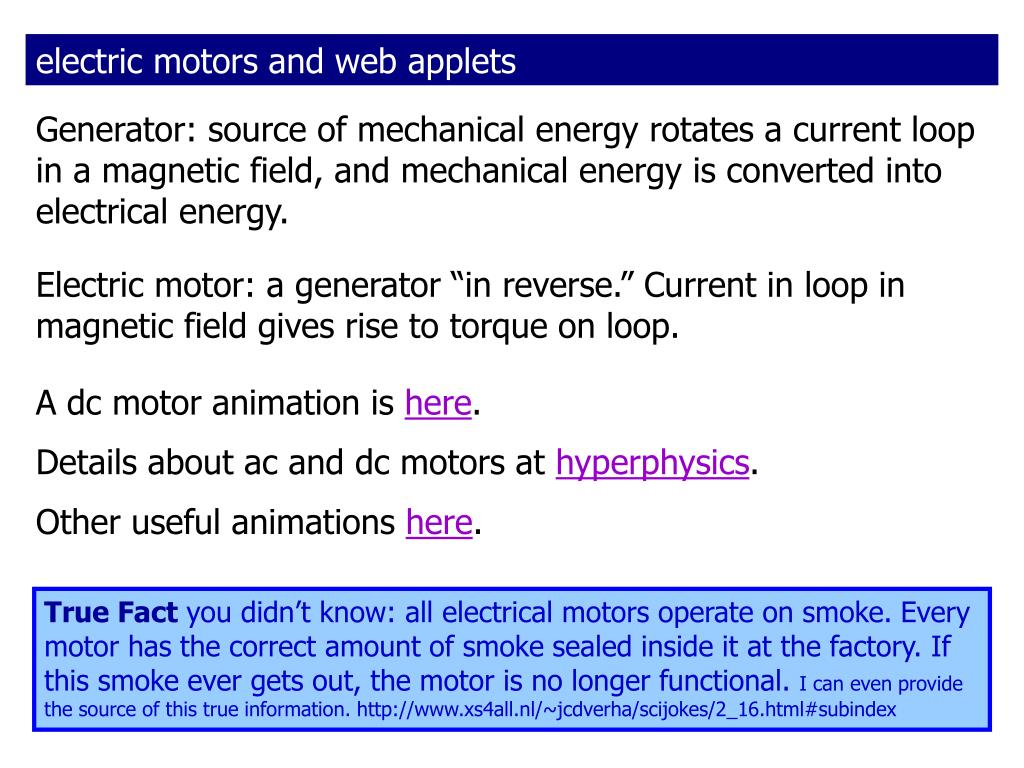 electric motors and web applets