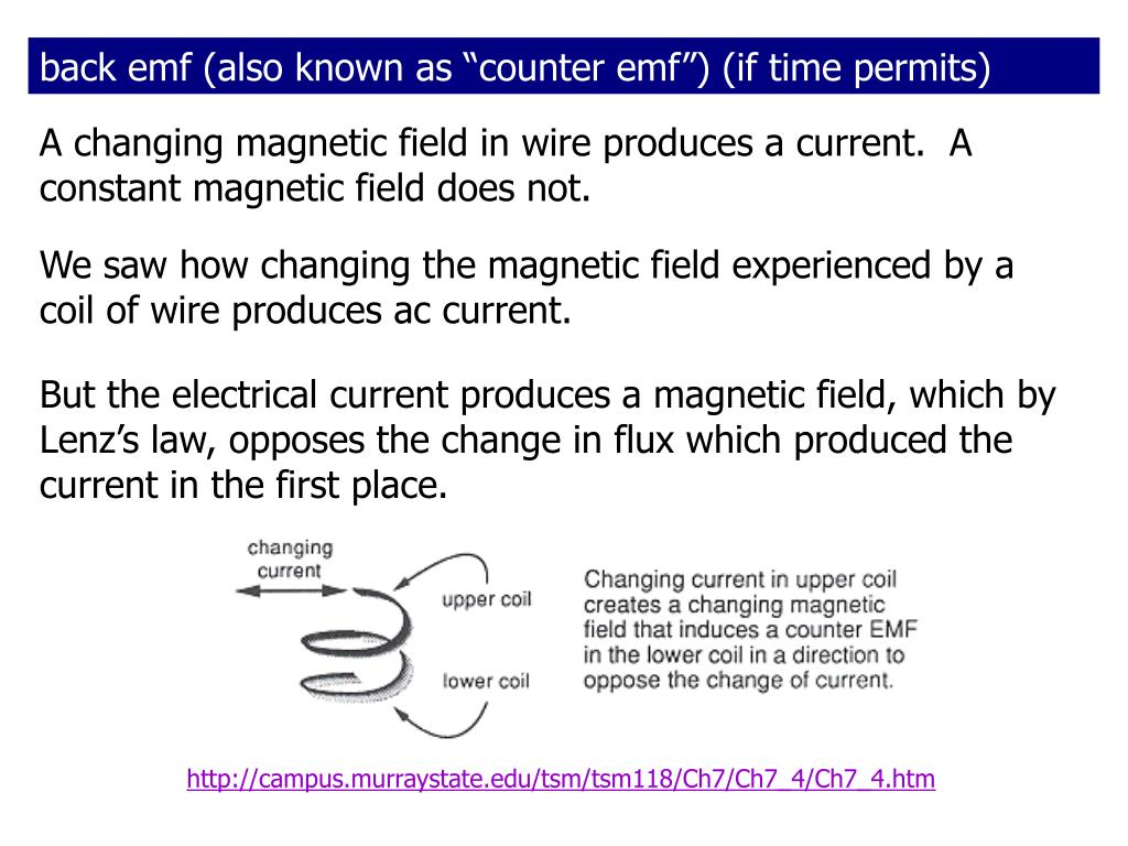"back emf (also known as ""counter emf"") (if time permits)"