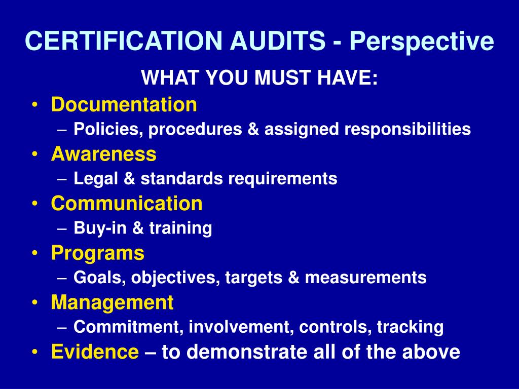 CERTIFICATION AUDITS - Perspective