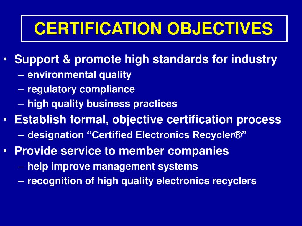 CERTIFICATION OBJECTIVES