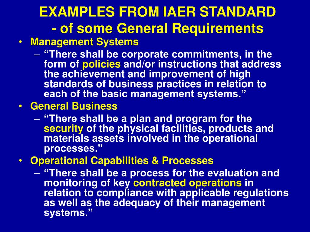 EXAMPLES FROM IAER STANDARD