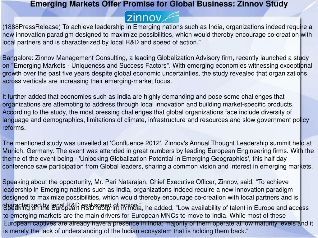 Emerging Markets Offer Promise for Global Business: Zinnov Study