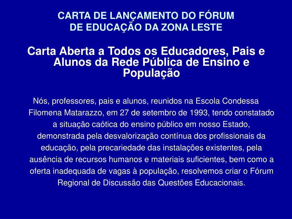 CARTA DE LANÇAMENTO DO FÓRUM