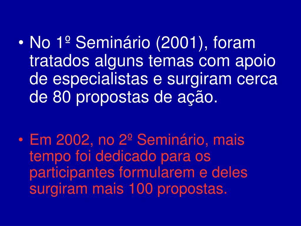 No 1º Seminário (2001), foram tratados alguns temas com apoio de especialistas e surgiram cerca de 80 propostas de ação.