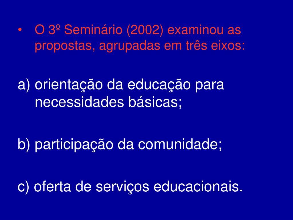 O 3º Seminário (2002) examinou as propostas, agrupadas em três eixos: