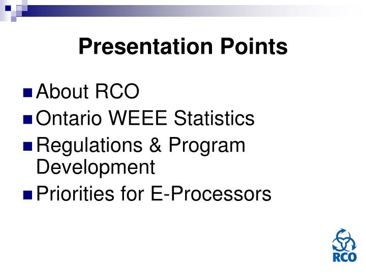 Presentation points