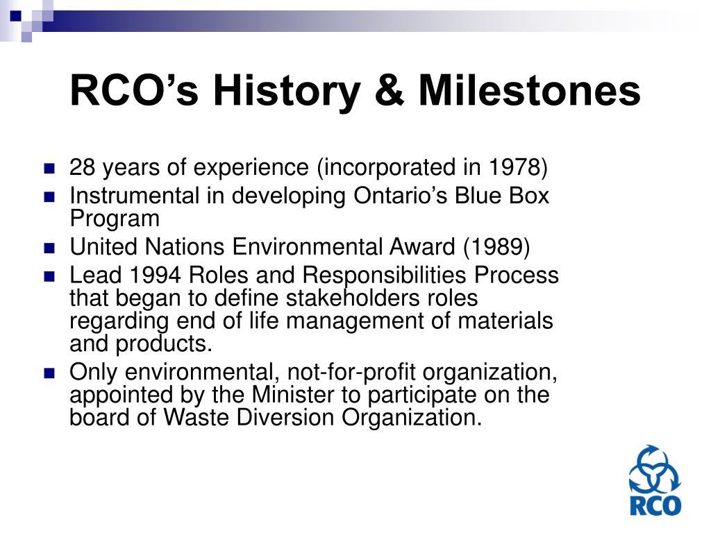 RCO's History & Milestones