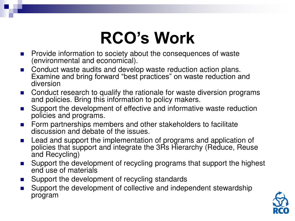 RCO's Work