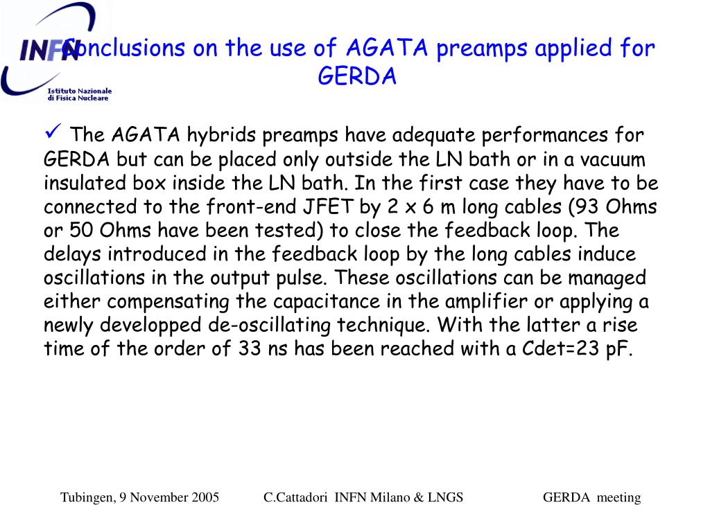 Conclusions on the use of AGATA preamps applied for GERDA