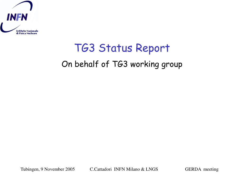 TG3 Status Report