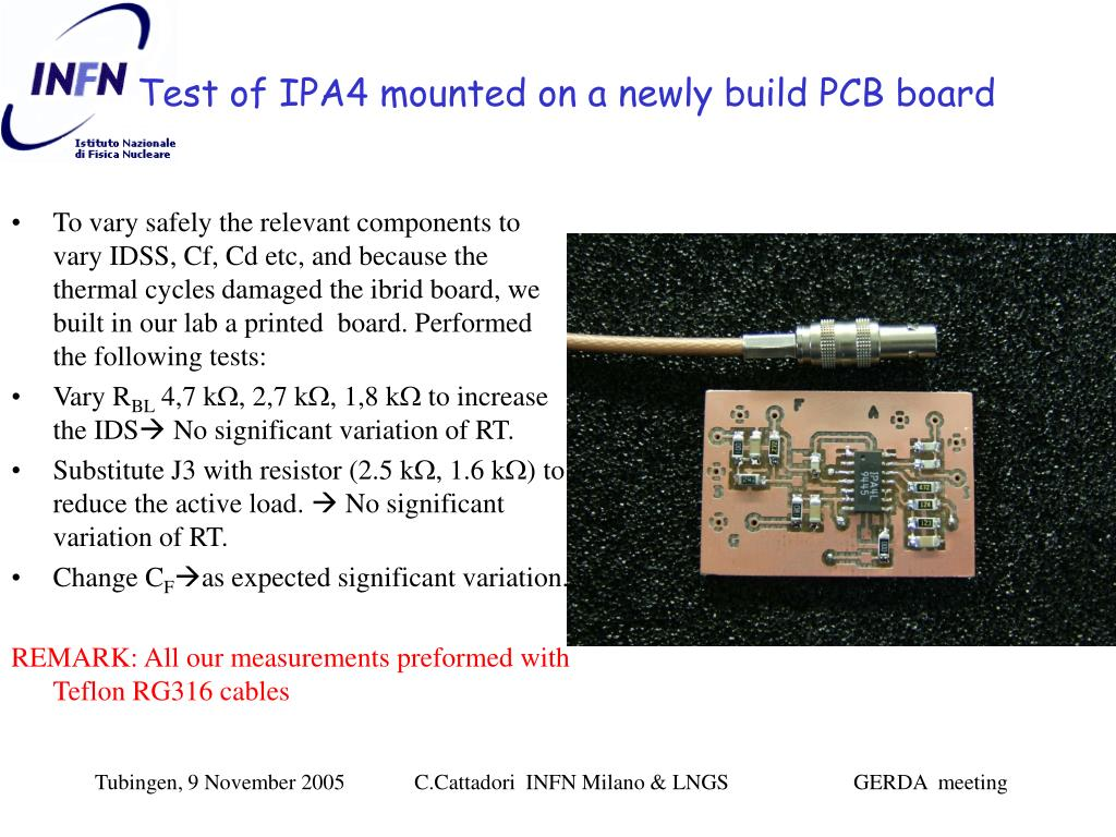 Test of IPA4 mounted on a newly build PCB board