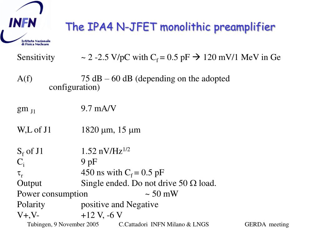 The IPA4 N-JFET monolithic preamplifier