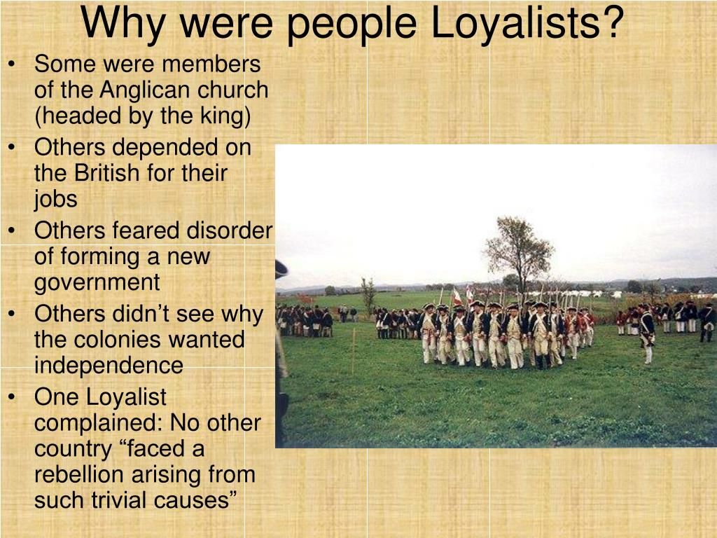 who were the loyalists The american revolution (hist 116) the lecture first concludes the discussion of the first continental congress, which met in 1774 ultimately.