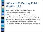 18 th and 19 th century public health usa