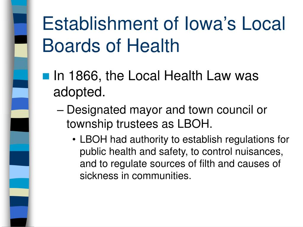 Establishment of Iowa's Local Boards of Health