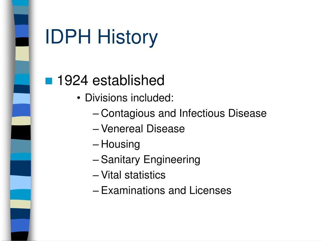 IDPH History