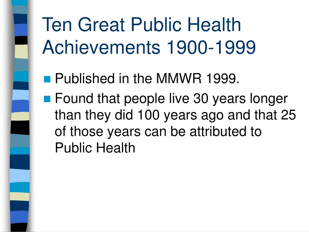 Ten Great Public Health Achievements 1900-1999