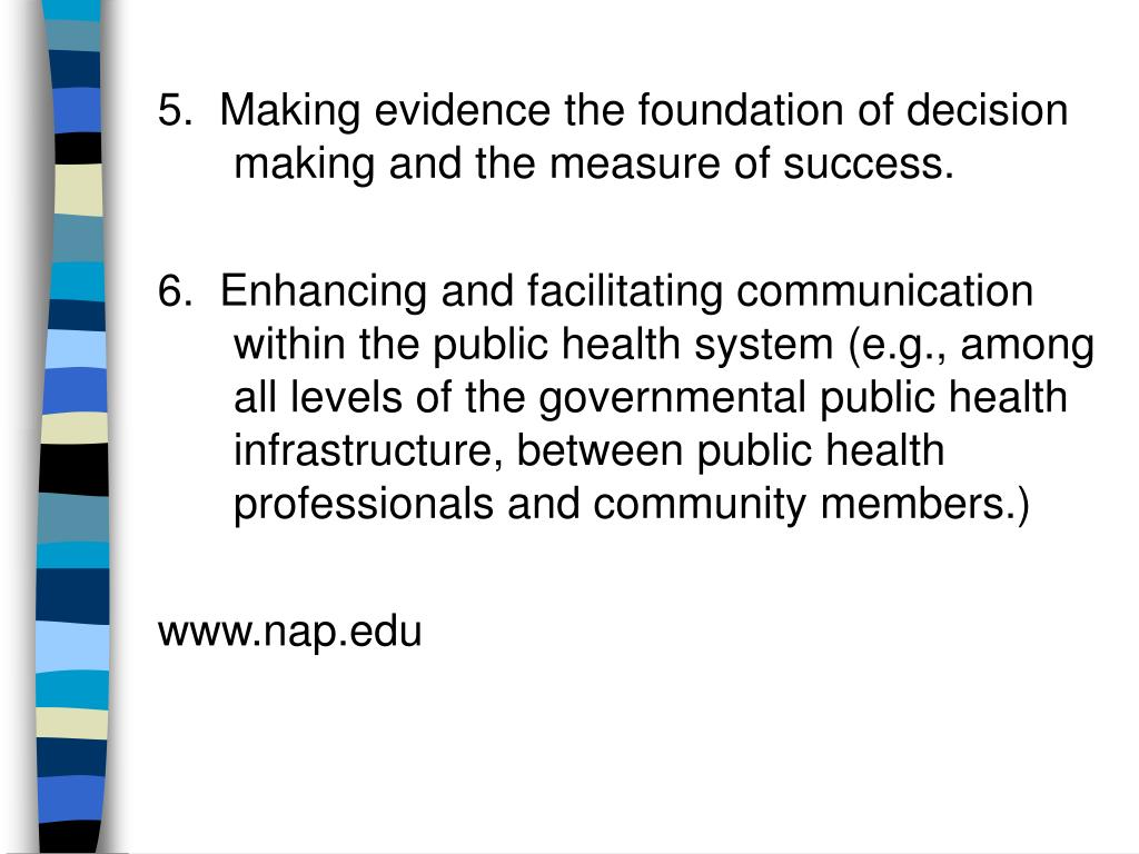 5.  Making evidence the foundation of decision making and the measure of success.