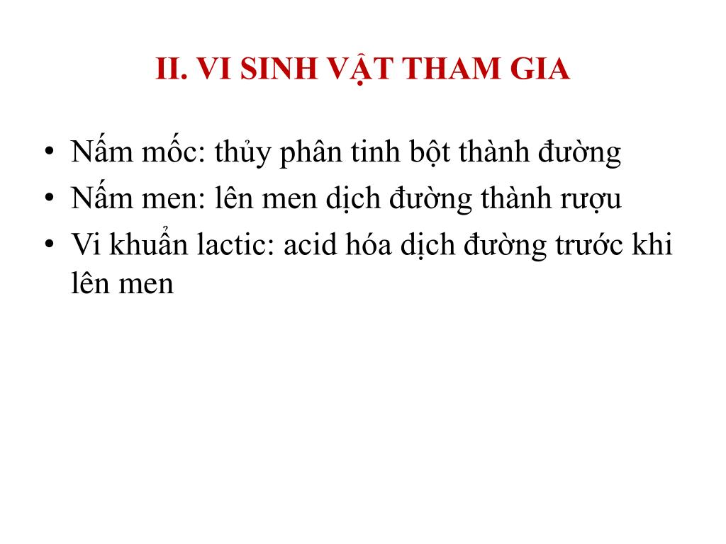 II. VI SINH VẬT THAM GIA