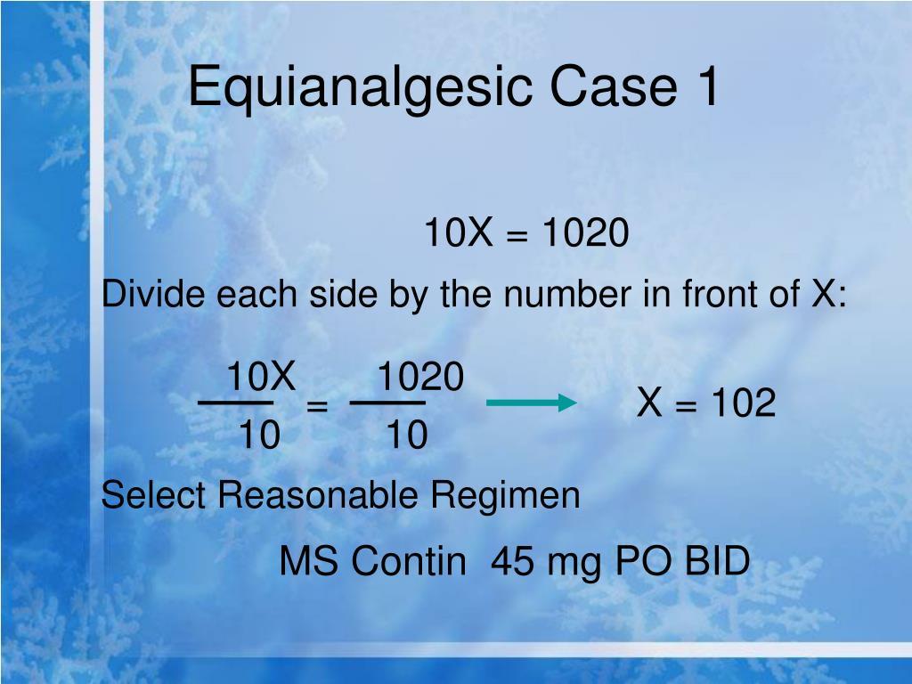Equianalgesic Case 1