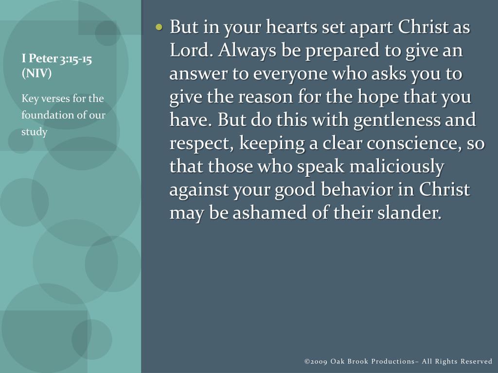 I Peter 3:15-15 (NIV)