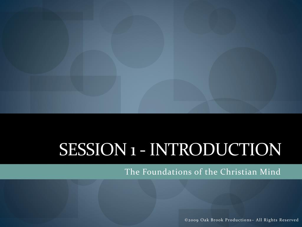 Session 1 - Introduction