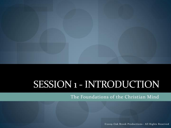 Session 1 introduction
