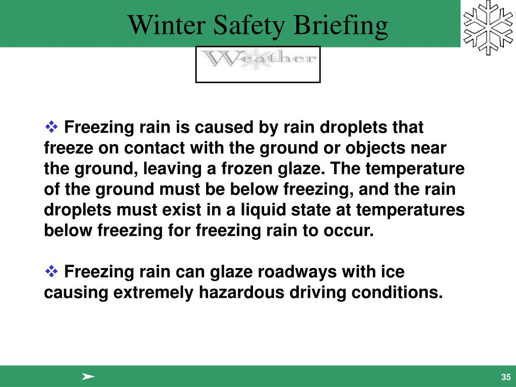 Freezing rain is caused by rain droplets that freeze on contact with the ground or objects near the ground, leaving a frozen glaze. The temperature of the ground must be below freezing, and the rain droplets must exist in a liquid state at temperatures below freezing for freezing rain to occur.