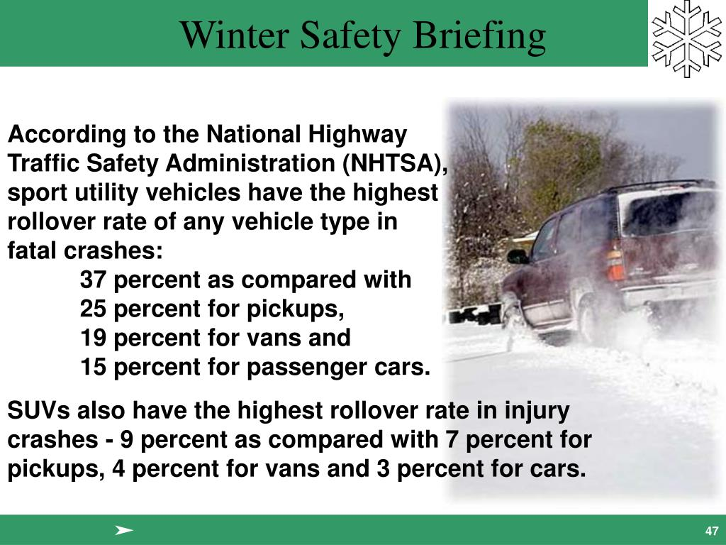 According to the National Highway                              Traffic Safety Administration (NHTSA),                                 sport utility vehicles have the highest                               rollover rate of any vehicle type in                            fatal crashes:                                                                                   	37 percent as compared with                            	25 percent for pickups,                                                 	19 percent for vans and                                     	15 percent for passenger cars.