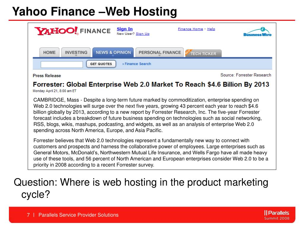 Yahoo Finance –Web Hosting