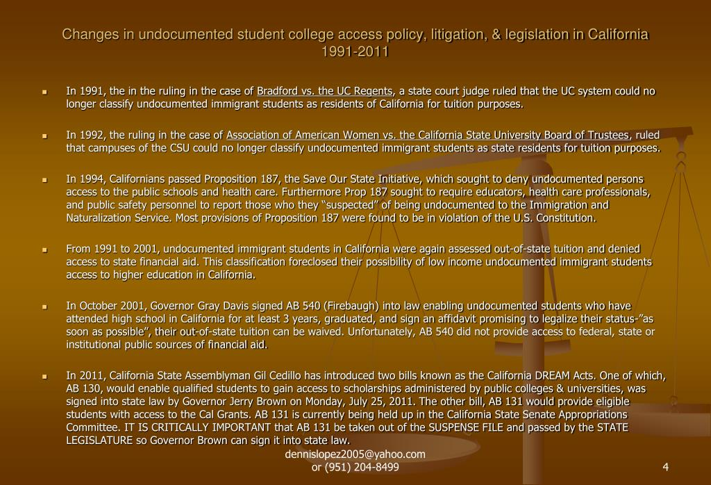 Changes in undocumented student college access policy, litigation, & legislation in California 1991-2011