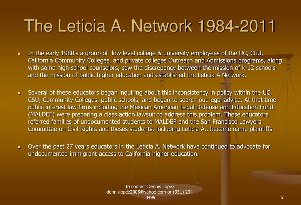 The Leticia A. Network 1984-2011