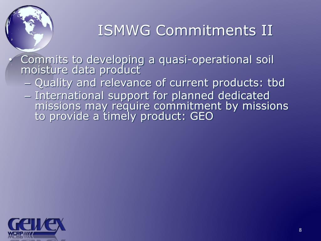 ISMWG Commitments II