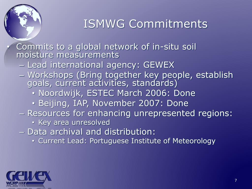 ISMWG Commitments