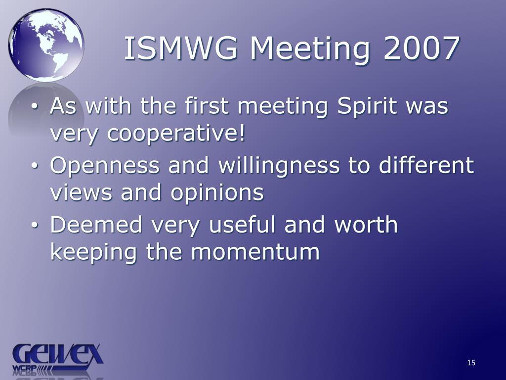 ISMWG Meeting 2007