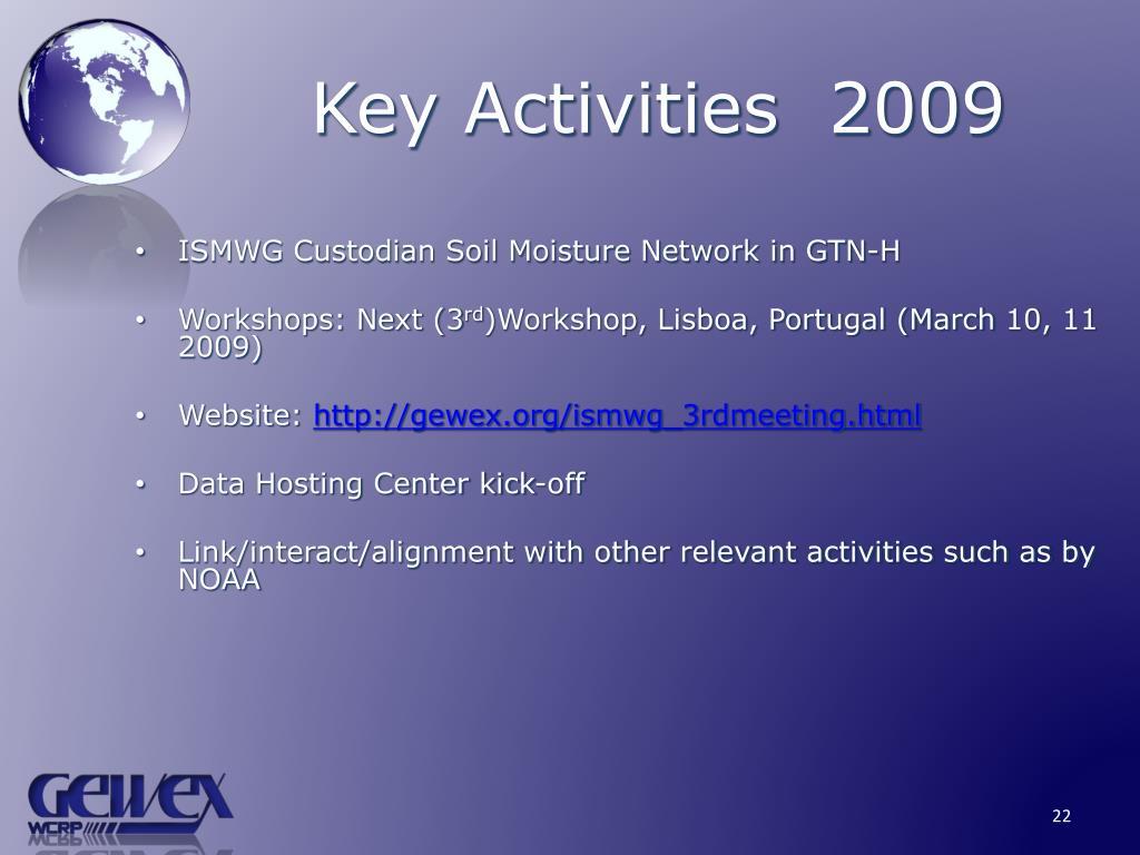 Key Activities  2009