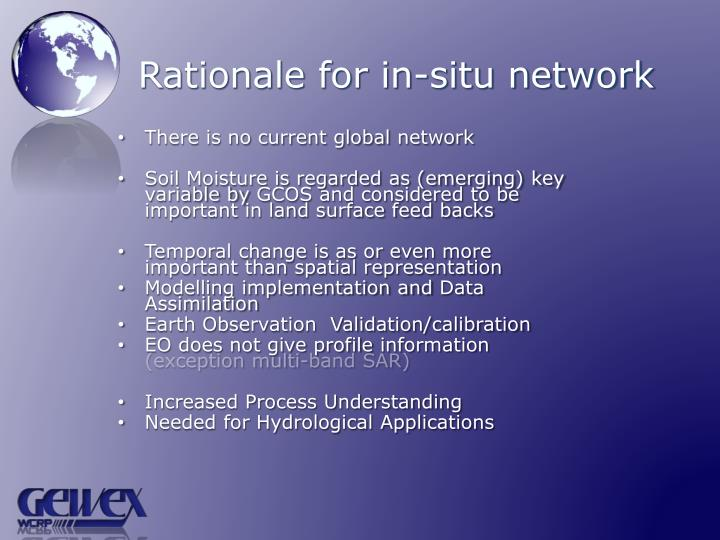 Rationale for in situ network