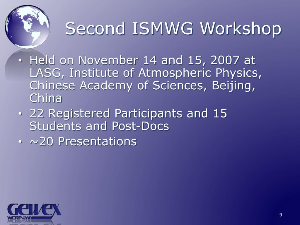 Second ISMWG Workshop