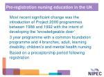 pre registration nursing education in the uk