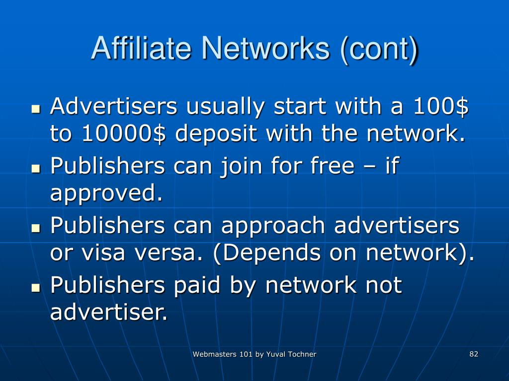 Affiliate Networks (cont)