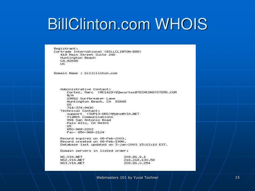 BillClinton.com WHOIS