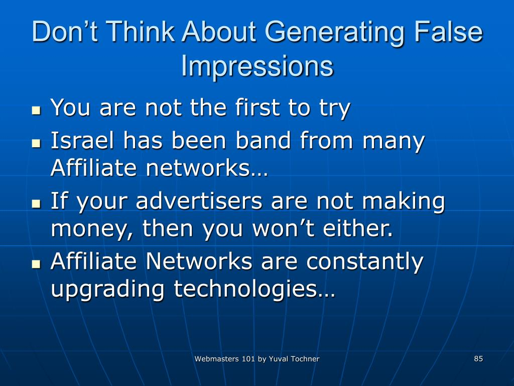 Don't Think About Generating False Impressions